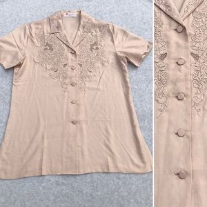 Vintage 70's Hand Embroidered Chinese Silk Shirt